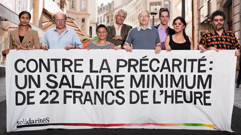 Contre la précarité: un salaire minimum de 22 francs de l'heure. SolidaritéS Vaud.