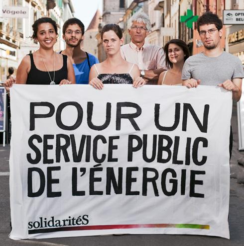Pour un service public de l'énergie. Banderolle de solidaritéS Vaud