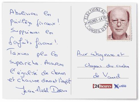 La carte postale aux vaudois de Jean-Michel Dolivo